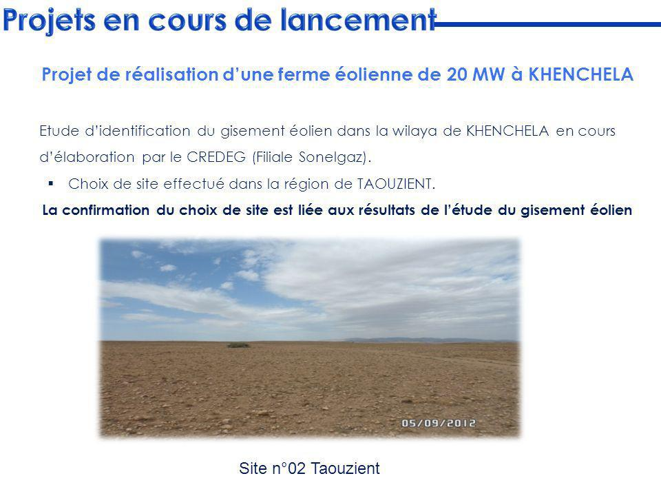 Projet de réalisation d'une ferme éolienne de 20 MW à KHENCHELA