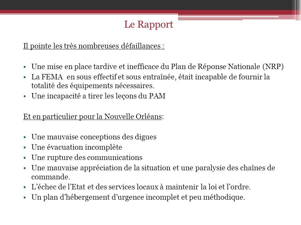 Le Rapport Il pointe les très nombreuses défaillances :