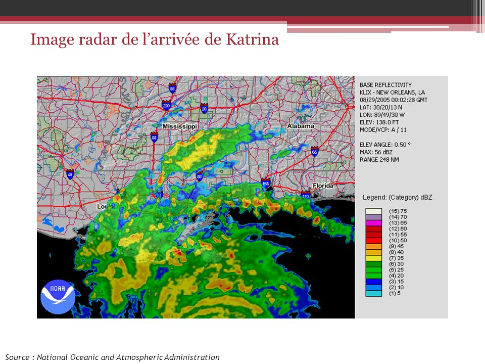 Image radar de l'arrivée de Katrina
