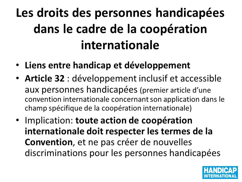 Les droits des personnes handicapées dans le cadre de la coopération internationale
