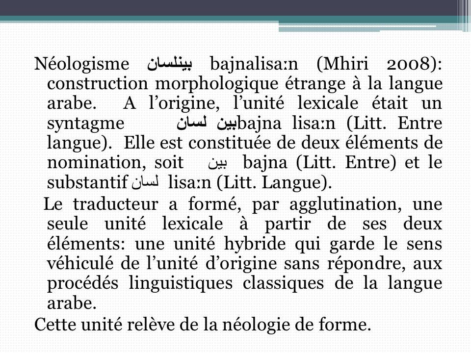 Néologismeبينلسان bajnaliѕaːn (Mhiri 2008): construction morphologique étrange à la langue arabe.