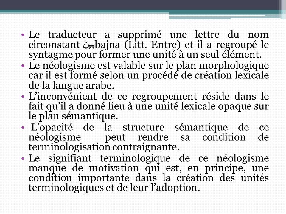 Le traducteur a supprimé une lettre du nom circonstantبين bajna (Litt