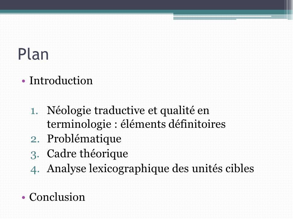 Plan Introduction. Néologie traductive et qualité en terminologie : éléments définitoires. Problématique.
