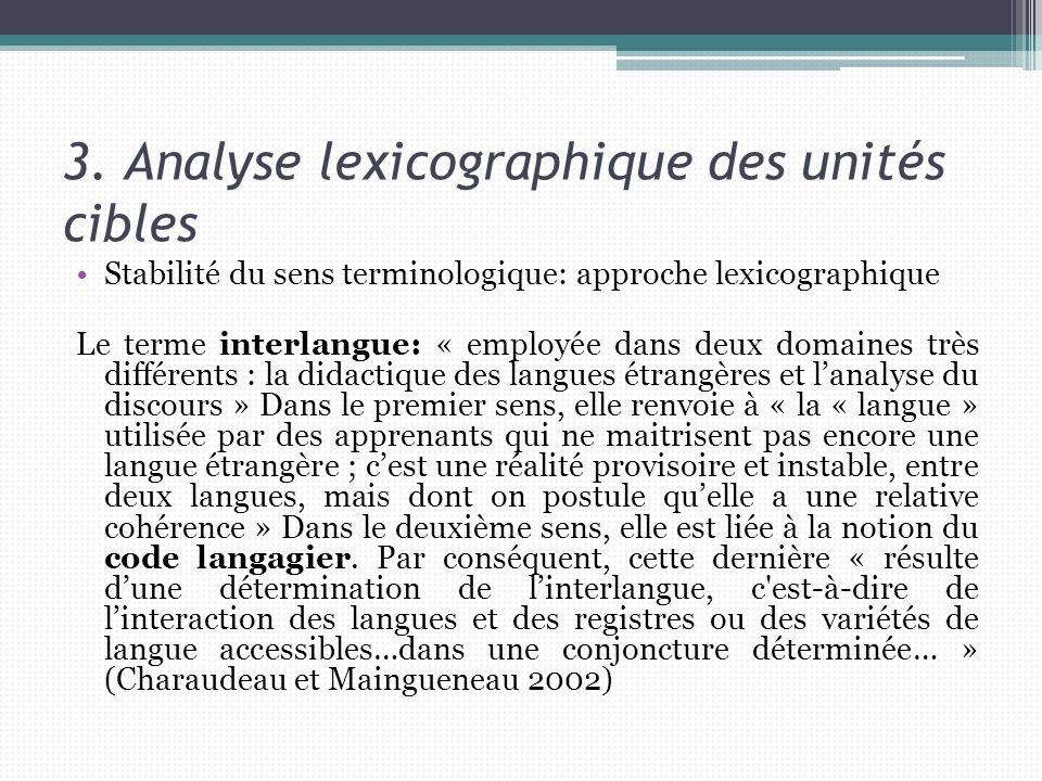 3. Analyse lexicographique des unités cibles