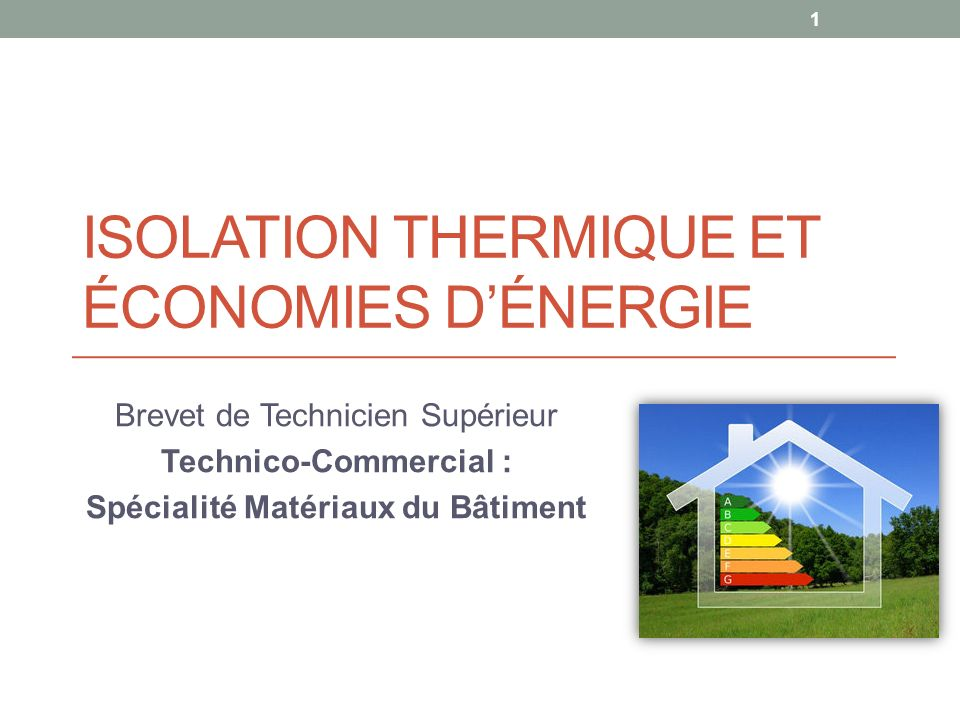 Isolation thermique et économies d'énergie