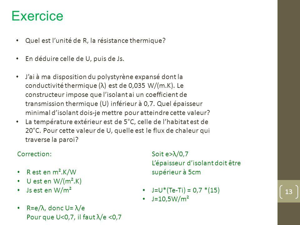 Exercice Quel est l'unité de R, la résistance thermique