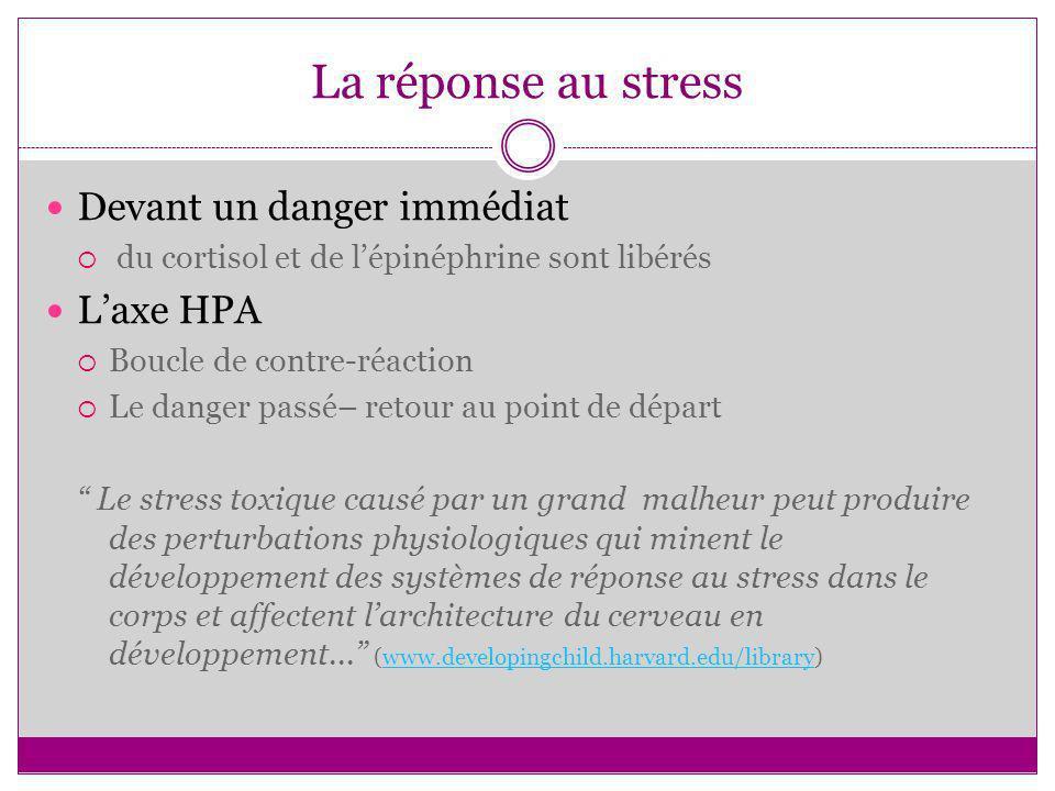 La réponse au stress Devant un danger immédiat L'axe HPA
