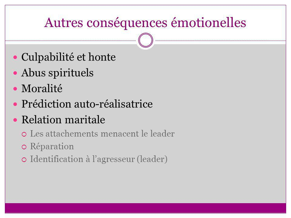 Autres conséquences émotionelles