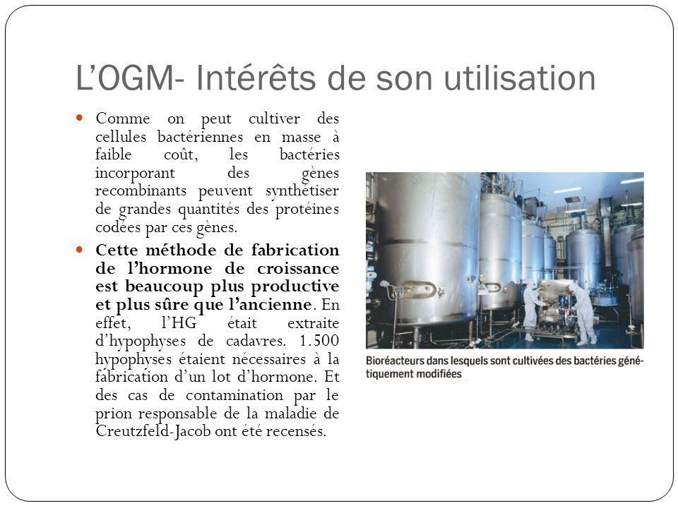 L'OGM- Intérêts de son utilisation