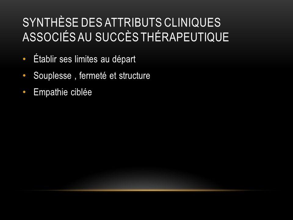Synthèse des attributs cliniques associés au succès thérapeutique