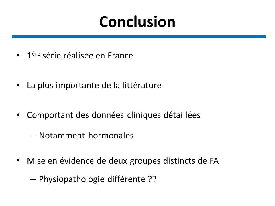 Conclusion 1ère série réalisée en France