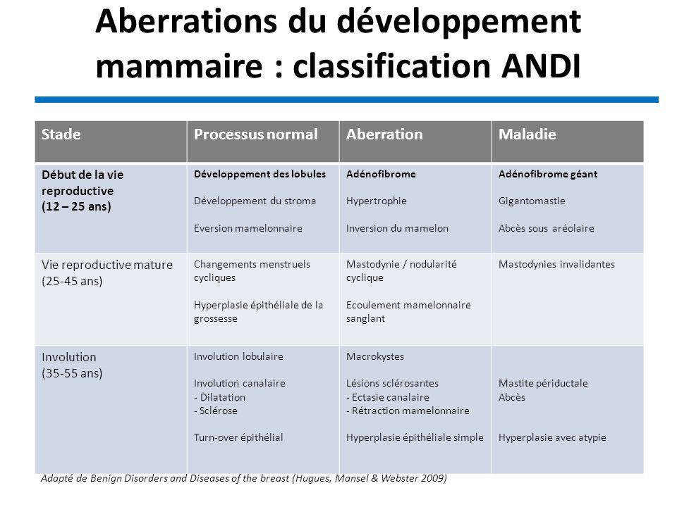 Aberrations du développement mammaire : classification ANDI