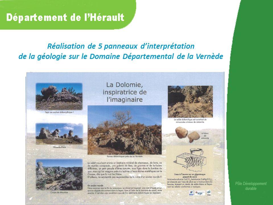 Réalisation de 5 panneaux d'interprétation de la géologie sur le Domaine Départemental de la Vernède