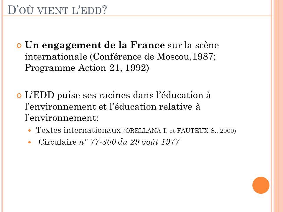 D'où vient l'edd Un engagement de la France sur la scène internationale (Conférence de Moscou,1987; Programme Action 21, 1992)