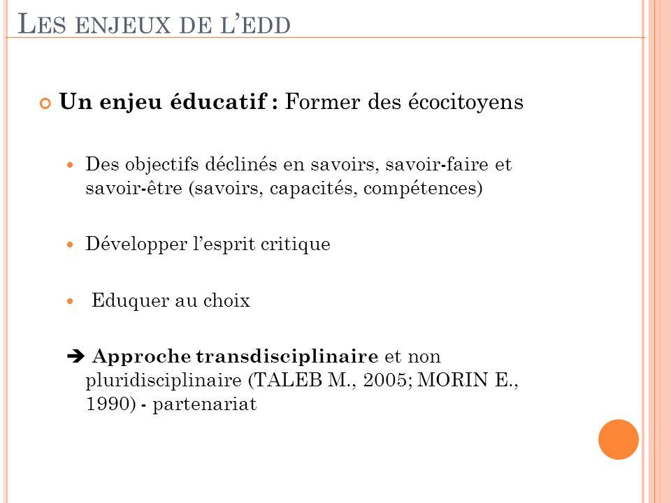 Les enjeux de l'edd Un enjeu éducatif : Former des écocitoyens