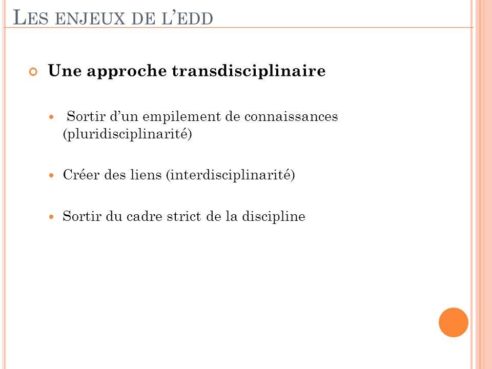 Les enjeux de l'edd Une approche transdisciplinaire