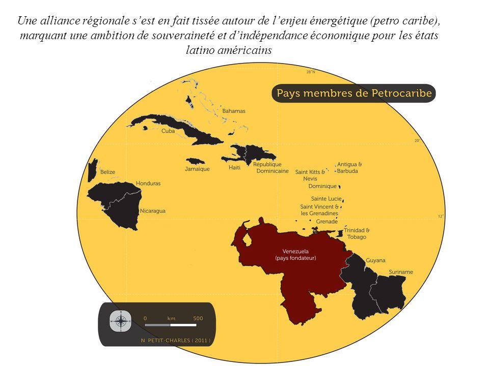 Une alliance régionale s'est en fait tissée autour de l'enjeu énergétique (petro caribe), marquant une ambition de souveraineté et d'indépendance économique pour les états latino américains