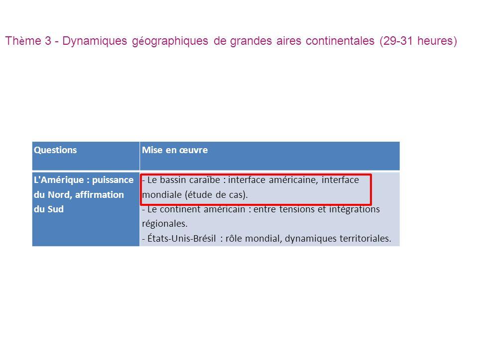 Thème 3 - Dynamiques géographiques de grandes aires continentales (29-31 heures)