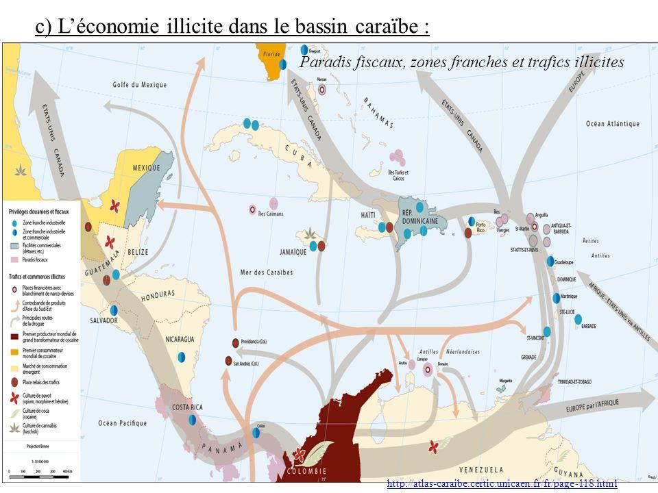c) L'économie illicite dans le bassin caraïbe :