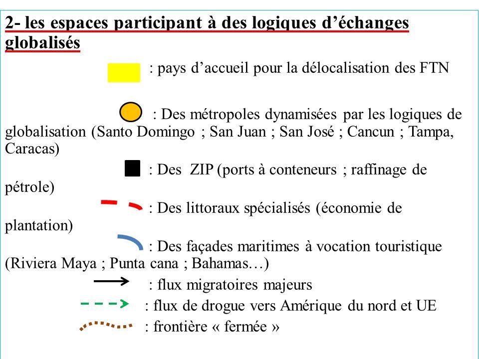 2- les espaces participant à des logiques d'échanges globalisés