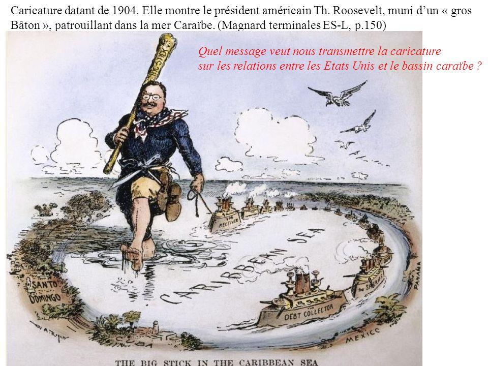 Caricature datant de 1904. Elle montre le président américain Th