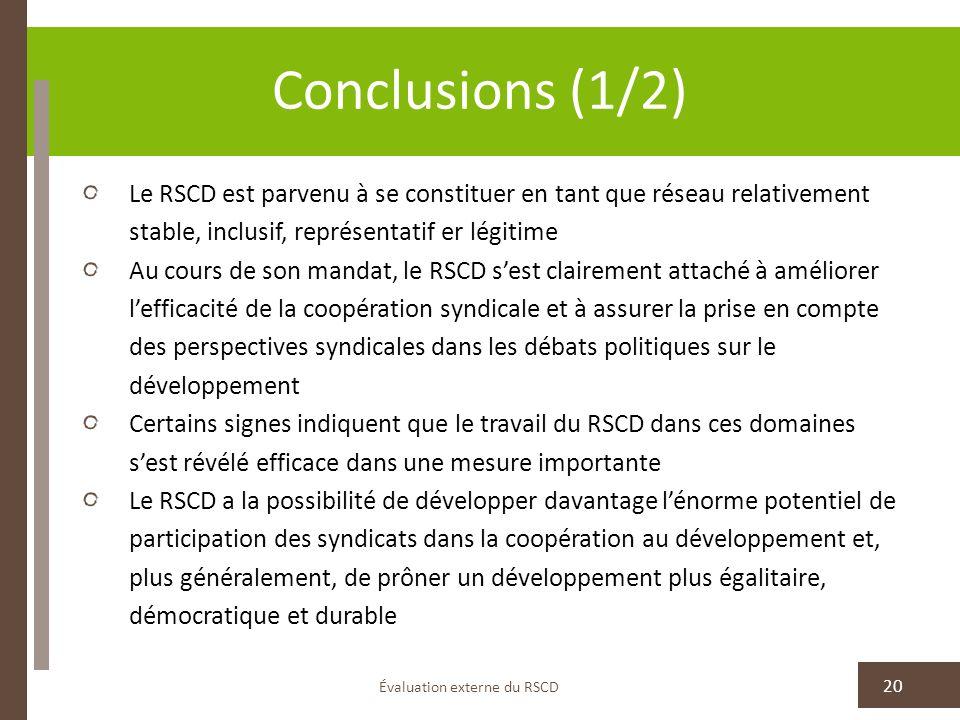 Évaluation externe du RSCD