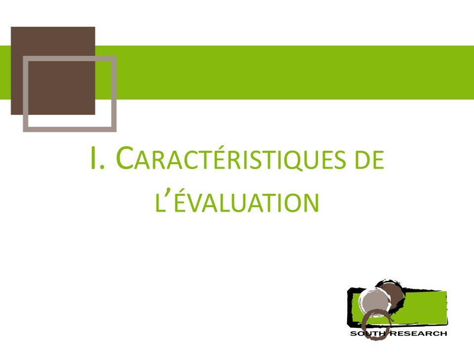 I. Caractéristiques de l'évaluation