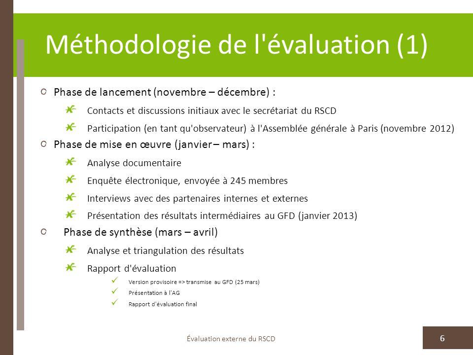 Méthodologie de l évaluation (1)