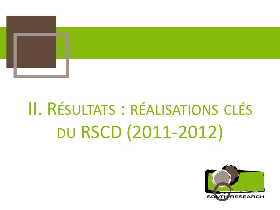 II. Résultats : réalisations clés du RSCD (2011-2012)