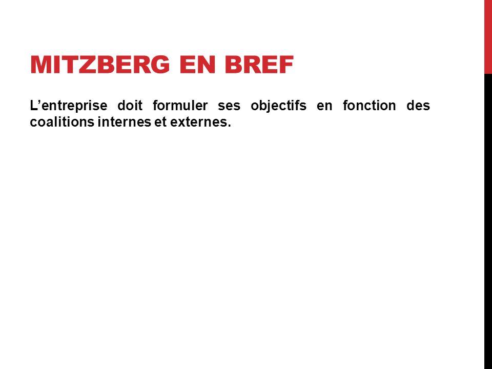 Mitzberg en bref L'entreprise doit formuler ses objectifs en fonction des coalitions internes et externes.