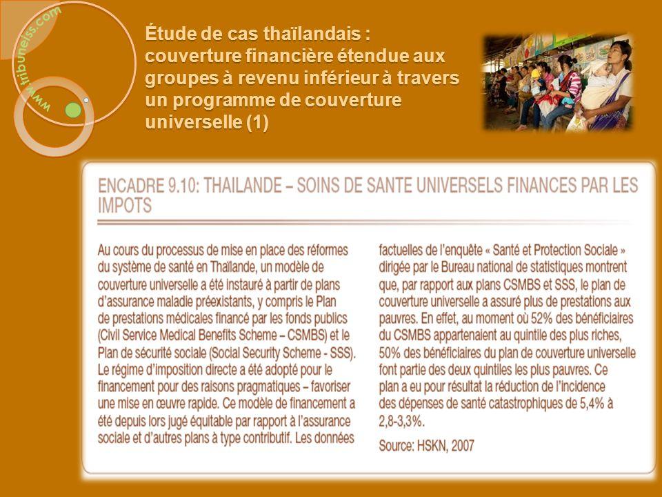 Étude de cas thaïlandaise : couverture financière étendue aux groupes à revenu inférieur à travers un programme de couverture universelle (2)