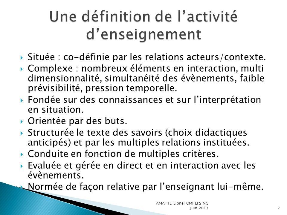 Une définition de l'activité d'enseignement