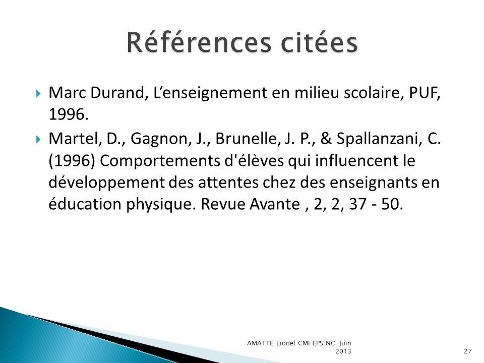 Références citées Marc Durand, L'enseignement en milieu scolaire, PUF, 1996.