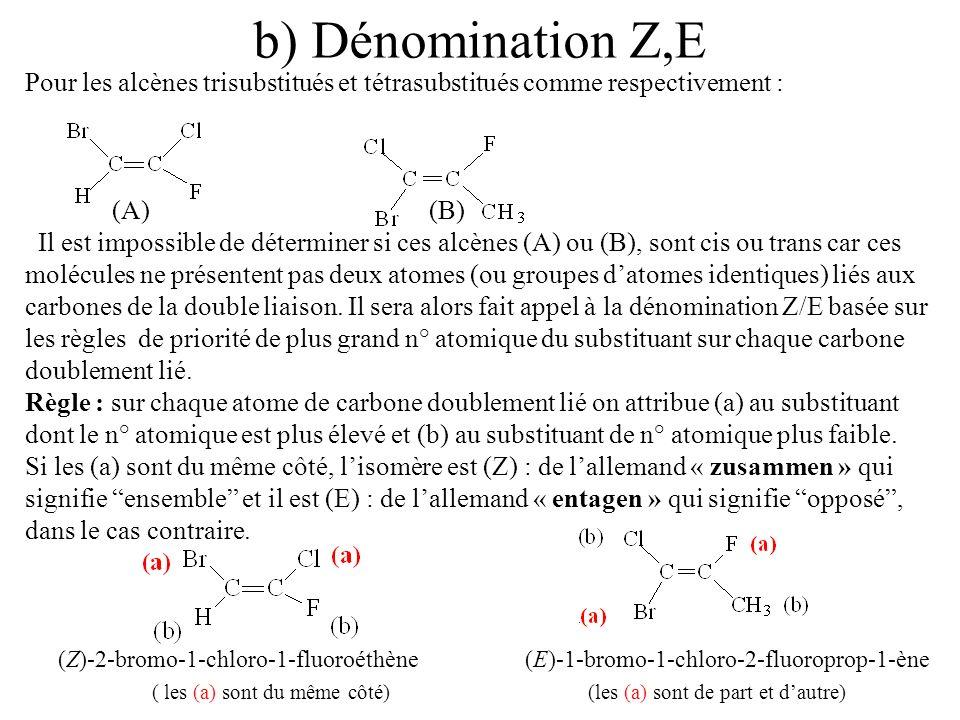 b) Dénomination Z,E