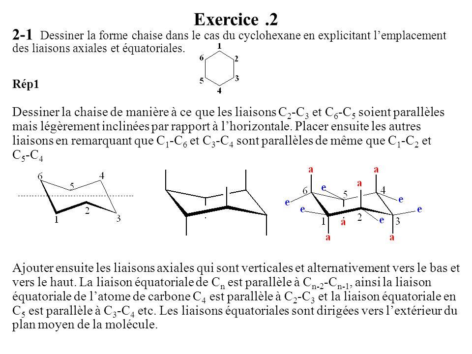 Exercice .2 2-1 Dessiner la forme chaise dans le cas du cyclohexane en explicitant l'emplacement des liaisons axiales et équatoriales.