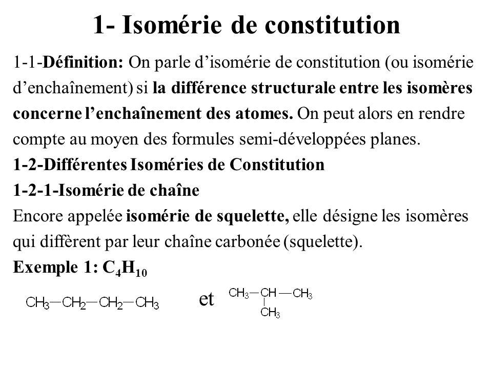 1- Isomérie de constitution