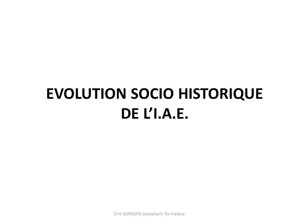Evolution socio historique de l'I.A.E.