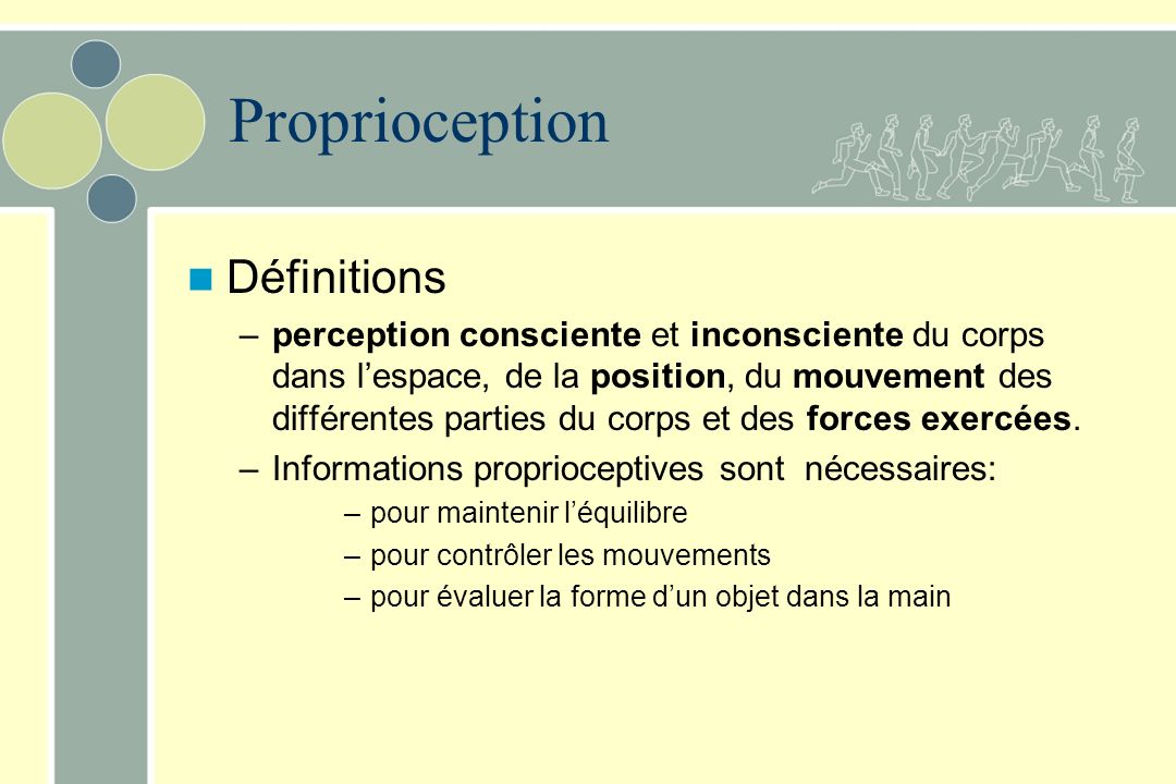 Proprioception Définitions