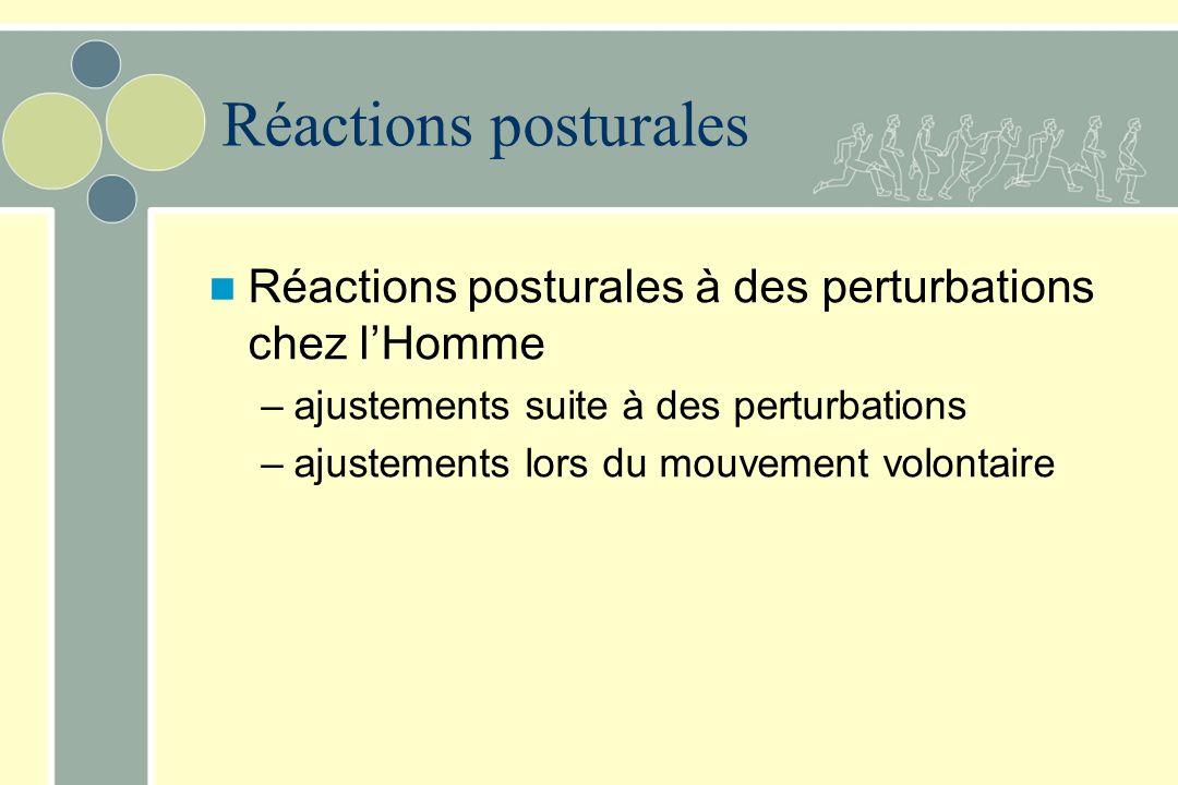 Réactions posturales Réactions posturales à des perturbations chez l'Homme. ajustements suite à des perturbations.