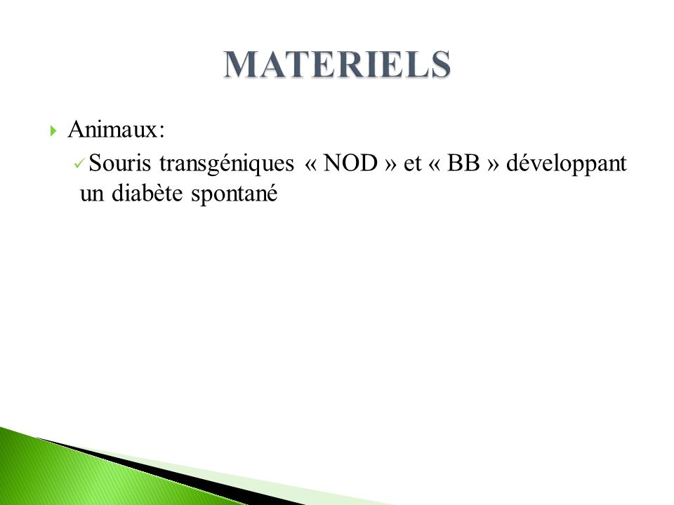 MATERIELS Animaux: Souris transgéniques « NOD » et « BB » développant un diabète spontané