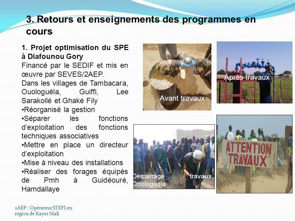 3. Retours et enseignements des programmes en cours