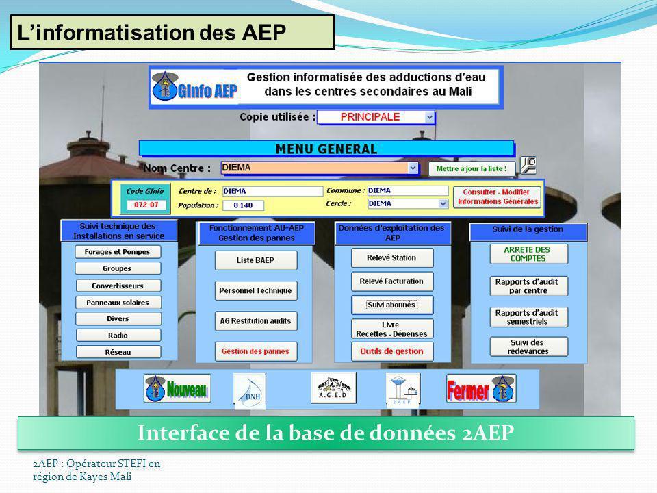 Interface de la base de données 2AEP
