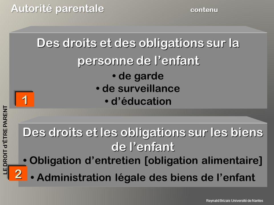 Des droits et des obligations sur la personne de l'enfant