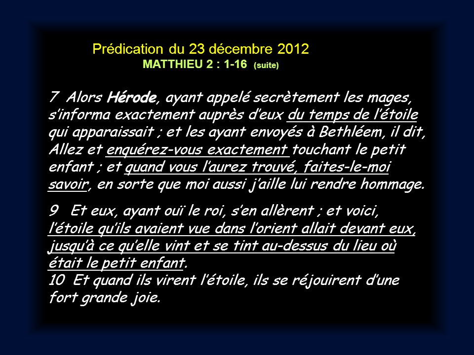 Prédication du 23 décembre 2012