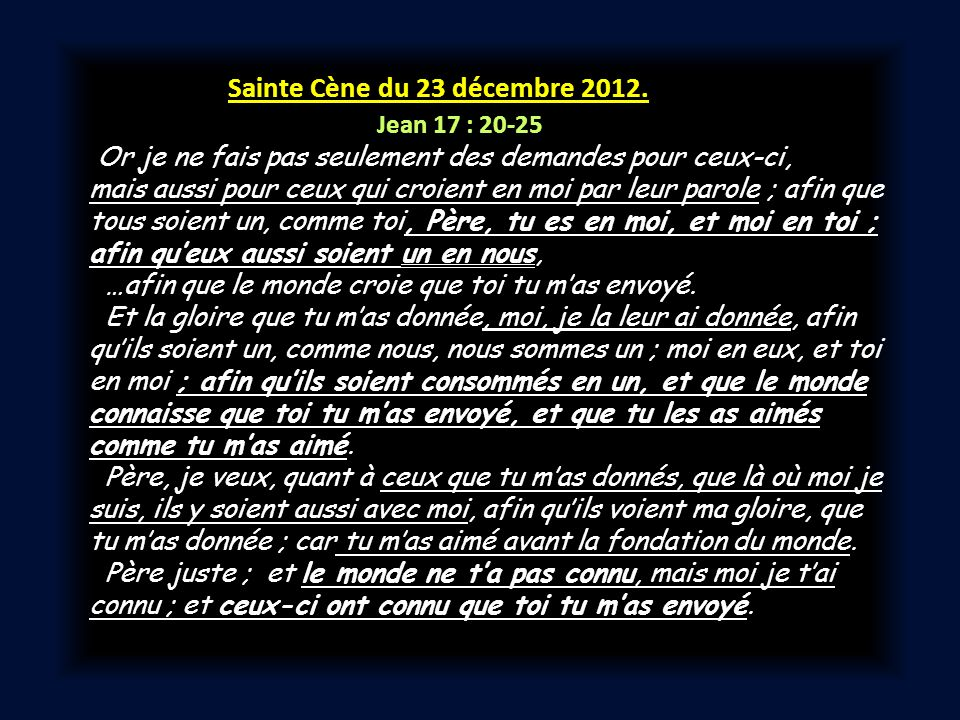 Sainte Cène du 23 décembre 2012