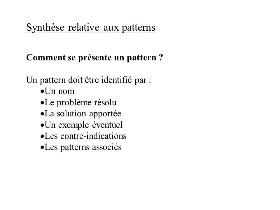 Synthèse relative aux patterns