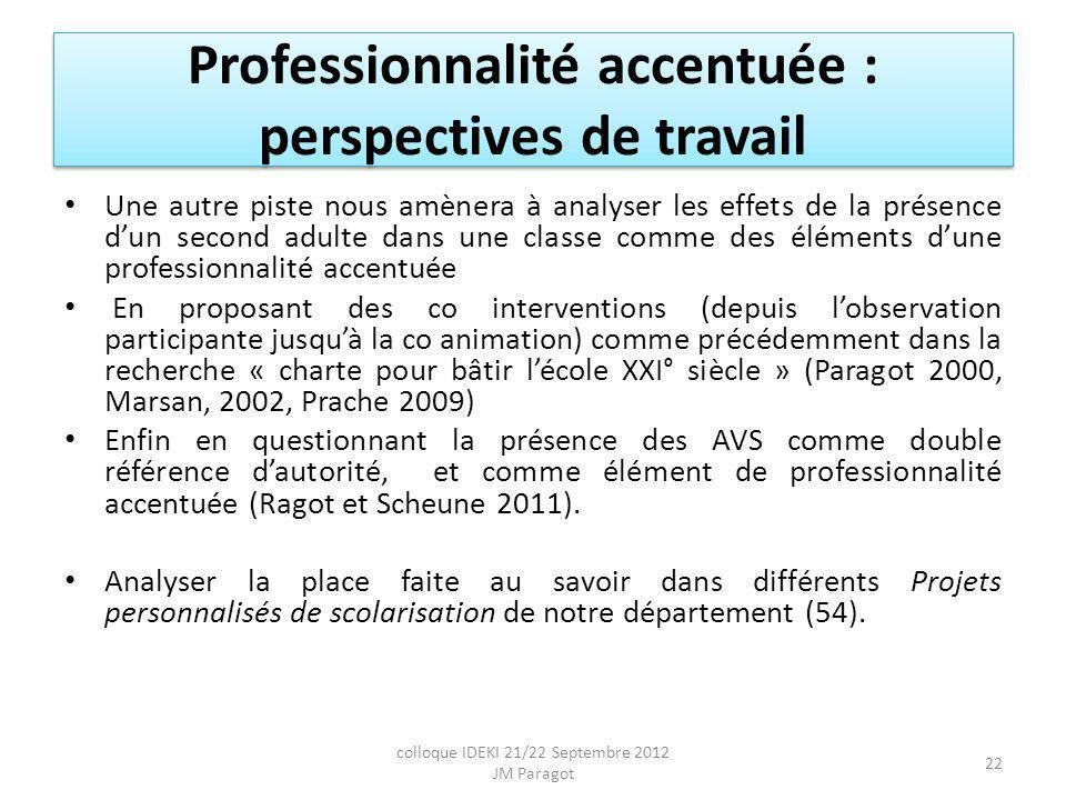 Professionnalité accentuée : perspectives de travail