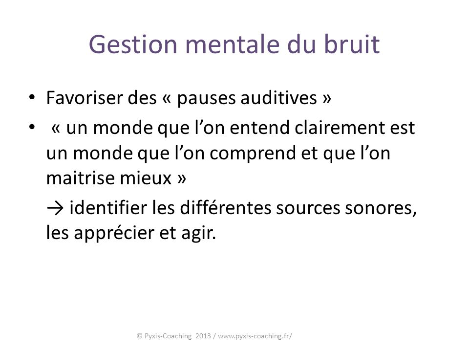 Gestion mentale du bruit
