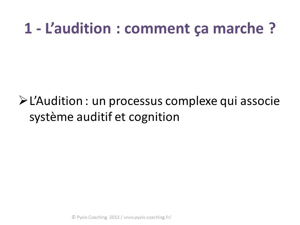 1 - L'audition : comment ça marche