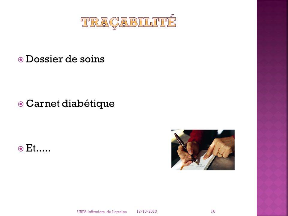 Traçabilité Dossier de soins Carnet diabétique Et.....